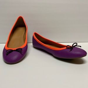 J Crew Ballet Flats purple and orange size 8